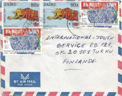Congo Zaire 1990 Kananga Code Letter B Lion SIDA AIDS French Revolution Human Rights Cover - Zaïre