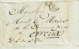 928/21 - Lettre GAND An 14 Vers EVREUX - Signalement Imprimé De Louis Massez , Fuyard En Faillite - 1794-1814 (French Period)