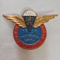 Badge / Pin (Parachuting) - Czechoslovakia Bratislava 4th World Championship 1958 ARCS - Parachutting