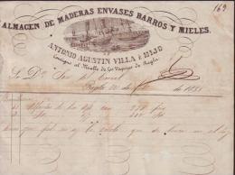 E4431 CUBA SPAIN ILLUSTRATED INVOICE STORE 1858. LAMACEN DE ENVASES DE MADERA PARA BARROS Y MIELES. PUEBLO DE REGLA - Invoices & Commercial Documents