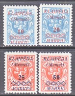 Memel  N 12-15  * - Memel (1920-1924)