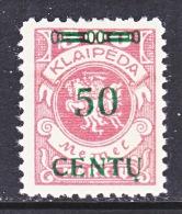 Memel  N 50  * - Unused Stamps