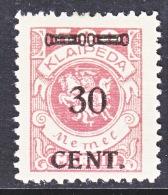 Memel  N 58  * - Unused Stamps