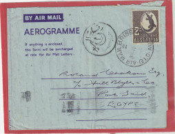 AUSTRALIA BY AIR MAIL 2S AEROGRAMME BRISBANE 1955 FOR EGYPT PORT SAID - Aerogrammes