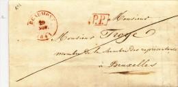 940/21 - Lettre Précurseur BEAUMONT PP 1841 Vers BRUXELLES - Signée Lebacq - Port 4 Au Verso - 1830-1849 (Belgique Indépendante)