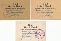 DEUTSCHLAND, Chorzow, Lot Of 3 Necessity Notes 1914 - [11] Local Banknote Issues