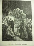 Assemblée Protestante Au Désert Surprise Par Les Soldats , Gravure De Soligny Et Dessin De Bayard De Circa 1887 - Documenti Storici
