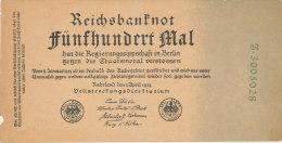DEUTSCHLAND, Reichsbanknot Funfhundert Mal, 1923 - [11] Local Banknote Issues