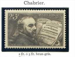 1 Timbre France Neuf **- Oeuvres Musiciens - E Chabrier- N° 542 - 2F+ 3F Brun-gris -1942 Cat YT - France