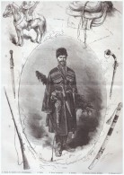GRAVURE D Epoque  1877 Equipement    Russie Russe Type De Cosaque De La Garde Imperiale  Kinjal  Sihaska - Vieux Papiers