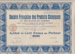 Société Française Des Produits Chimiques Et Des Blancs De Comines - Action De 100F - Actions & Titres