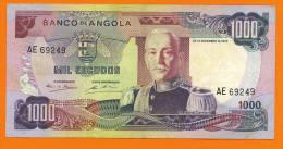 # ANGOLA 1000 Escudos 24 Novembre 1972  P103  (Marechal Carmona) TTB - Angola