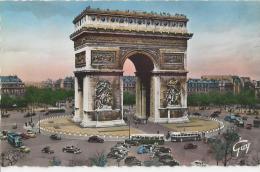 Paris - Place Et Arc De Triomphe De L'Etoile  -  Voitures, Autobus - Arc De Triomphe