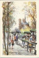 Paris - Notre Dame, Bouquinistes - Aquarelle Collection Aqua Pictura   -  Non écrite - Notre Dame De Paris