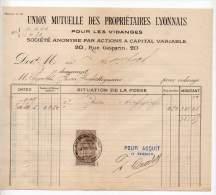 Union Mutuelle Des Propriétaires Lyonnais Pour Les Vidanges, Rue Gasparin, Lyon - 1898 - Francia