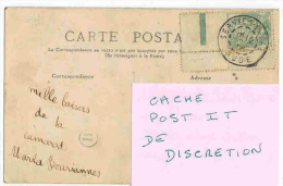 SUR CPA Type Blanc Coin De Feuille Oblitération SERVIES En VAL Aude + Cachet Boîtier Rural B Circulée Vers ALET En 1906 - Marcophilie (Lettres)