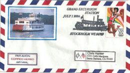 USA. Bateau à Aube Sur Le Fleuve Mississippi, Enveloppe Souvenir De Stockholm (Wisconsin) - Event Covers