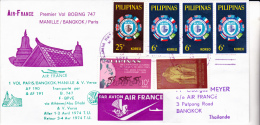 LETTRE PREMIER VOL PHILIPINES -MANILLE / BANGKOK/ PARIS -1974- - Filipinas
