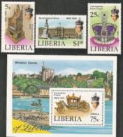 Liberia,  Scott 2014 # 813-815 + C221,  Issued 1978,   Set Of 3 + S/S Of 1,  NH,  Cat $ 7.00,  QE II - Liberia