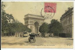PARIS , 16 ème ,  Avenue Marceau Et Arc De Triomphe , CPA ANIMEE + TRAM , 1907 - Arrondissement: 16
