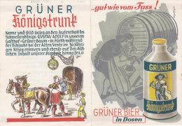 """DEPLIANT PUBBLICITARIO BIRRA """"GRUNER""""  BOTTE-FURT IN BAYERN    -2-0882-19365-366 - Publicité"""