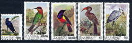ZAMBIA 1989  Surcharges On Birds Definitives -  5 Used Values - Zambia (1965-...)