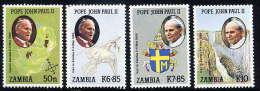 ZAMBIA 1989  Visit Of Pope Jaohn Paul II  Set Of 4 Values MNH / **.  SG 575-78 - Zambia (1965-...)