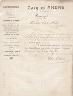 1899 Facture Lettre Invoice Chandré Dampremy Charleroi Verres à Vitres Charbons Produits émaillé - Belgique