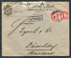 1915 Sweden Denmark Germany. Copenhagen Fra Sverige Paquebot Censor Advertising Cover - Dusseldorf, Germany