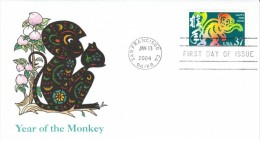 #3832 Lunar New Year Of The Monkey US Postage Stamp First Day Cover 13 January 2004 - First Day Covers (FDCs)