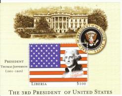 Liberia $100 Souvenir Sheet US President Thomas Jefferson, C2000 Issue - Liberia