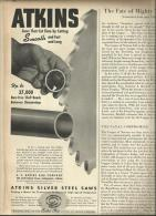 @@@ ATKINS Silver Steel Saw ADD - Out Of 1943 Magazine - Publicités