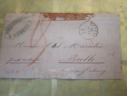 16 Mai 1855 Lettre (mignonnette) De Genève Suisse Helvetia Cachet Privé Bleu Marcellin Aimé Pr  Poste Restante à Bulle - 1854-1862 Helvetia (Non-dentelés)