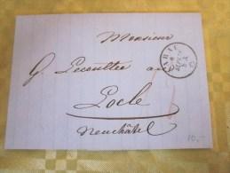 8 Sep 1858 Lettre (mignonnette)+ Courrier De Abraham Zimmerman Aarau Suisse Helvetia-Cachet à Date Verso Locle Neuchâtel - 1854-1862 Helvetia (Non-dentelés)