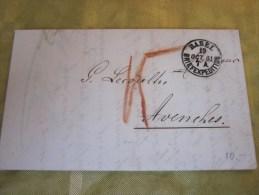19 Octobre 1861 Lettre (mignonnette) + Courrier De Basel Brief ExpéditionSuisse Helvetia-pour Avenche (Taxe ) - 1843-1852 Timbres Cantonaux Et  Fédéraux