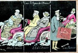 CPA ILLUSTRATION SIGNEE F. CARDET MULTIVUES LES 3 AGES DE L'AMOUR COUPLES AUTOMOBILE 1906 - Humor