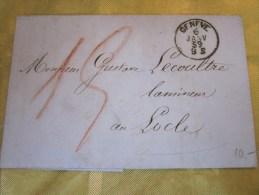 6 Janvier 1859 - Lettre (mignonnette)+Courrier De Genève Suisse Helvetia-Pr Lamineur à LOCLE  (Taxe ) - 1854-1862 Helvetia (Non-dentelés)
