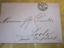 19 Jan 1857 Lettre(mignonnette)+Courr Ier Basel Bale Briefexpédition Suisse Helvetia-Pr Lamineur à LOCLE /Neuchâtel(Taxe - 1854-1862 Helvetia (Non-dentelés)