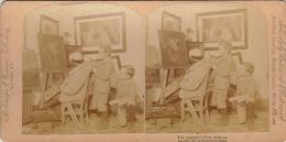 Photo Stereo Scene Homoristique Peinture Peintre Blague - Stereoscopio
