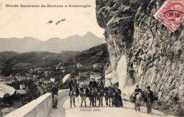 [DC6619] STRADA NAZIONALE DA MENTONE A VENTIMIGLIA - EDIZIONI ABBO - Viaggiata - Old Postcard - Imperia