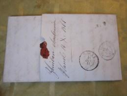 14/12/1861 Lettre (mignonnette) + Courrier Fribourg Suisse Helvetia-Pr Lamineur à Avenches (Taxe)+ Cachet De Cire - 1854-1862 Helvetia (Non-dentelés)