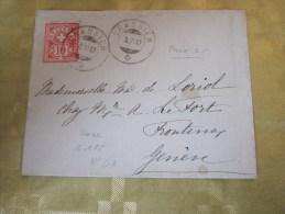 9 Avril 1862 Lettre (mignonnette) CRASSIER Suisse Helvetia-Pr Le Fort Fontenay Genève + En Tête à Initiales Verso - 1862-1881 Helvetia Assise (dentelés)