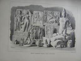 Hungary-Romania -Erdély - Deva - Roman Statues  -Dacia -archeology Print Ca 1895  1OM20.31 - Stiche & Gravuren