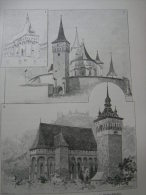 Hungary-Romania -Erdély - Sibiu -Alsóbajom- Boian -Muzsna-Mosna- Szászkézd - Kisd -Saschiz  -  Print Ca 1895  1OM20.67 - Estampes & Gravures