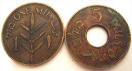 LOT OF 2 COINS: 1 MIL 1939 & 5 MILS 1944. ISRAEL, PALESTINE, VINTAGE COINS - Israel