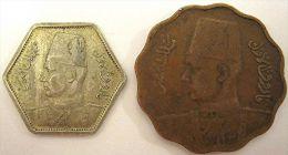 LOT OF 2 EGYPTIAN COINS: RARE 2 SILVER PIASTRES 1944 & 10 MILLIEMES 1938 - Egipto