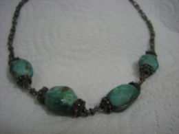 1940´s Palestine Pre-Israel Eilat Stone Silver Handmade Necklace - Etnica