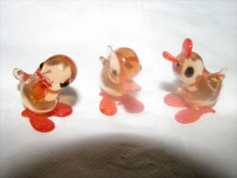 3 Cheerful Sunburst Amber Glass Ducks Ducklings - Vidrio & Cristal