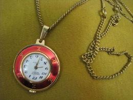 GIGANTIC Geneve Gold Enamel Quartz Watch Pendant&chain - Bijoux & Horlogerie
