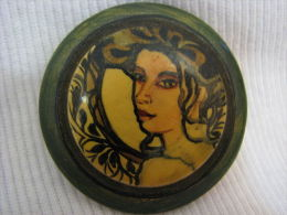 Portrait Of Woman Artisan Hand Painted Brooch Israel - Other Collections